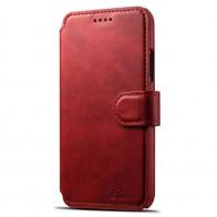 Mobiq Premium Lederen iPhone X Wallet hoes Rood 01