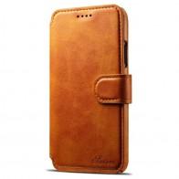 Mobiq Premium Lederen iPhone X Wallet hoes Tan bruin 01
