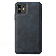 Mobiq Rugged PU Leather Case iPhone 12 / 12 Pro Blauw - 1