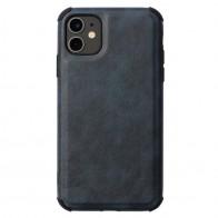 Mobiq Rugged PU Leather Case iPhone 12 / 12 Pro Blauw - 1