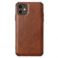 Mobiq Rugged PU Leather Case iPhone 12 / 12 Pro Bruin - 1