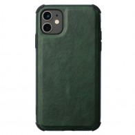 Mobiq Rugged PU Leather Case iPhone 12 / 12 Pro Groen - 1