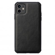 Mobiq Rugged PU Leather Hoese iPhone 12 / 12 Pro Zwart - 1