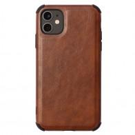Mobiq Rugged PU Leather Hoese iPhone 12 Mini Bruin - 1