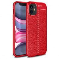 Mobiq Leather Look TPU Hoesje iPhone 12 Mini Rood - 1