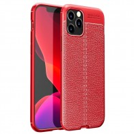 Mobiq Leather Look TPU Hoesje iPhone 12 Pro Max Rood - 1