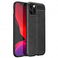 Mobiq Leather Look TPU Hoesje iPhone 12 Pro Max Zwart - 1