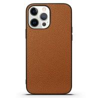 Mobiq iPhone 13 Pro Max Hoesje Leer Bruin 01