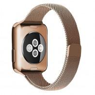 Mobiq Milanese Loop Apple Watch Bandje 42/44 mm Goud 01