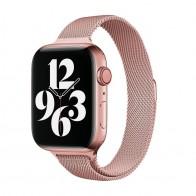 Mobiq Milanese Loop Apple Watch Bandje 42/44 mm Roze 01