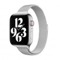 Mobiq Milanese Loop Apple Watch Bandje 42/44 mm Zilver 01