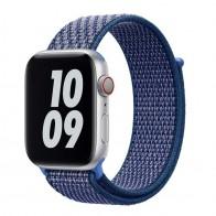 Mobiq Nylon Strap Apple Watch Bandje 42/44 mm donkerblauw 01
