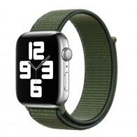 Mobiq Nylon Strap Apple Watch Bandje 38/40 mm olijfgroen 01