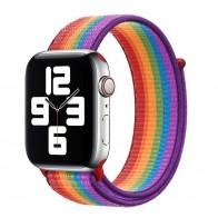 Mobiq Nylon Strap Apple Watch Bandje 38/40 mm regenboog 01