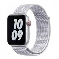 Mobiq Nylon Strap Apple Watch Bandje 38/40 mm wit 01