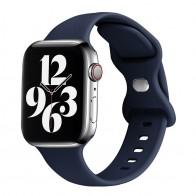 Mobiq - Siliconen Apple Watch Bandje 42-44mm Donkerblauw 01