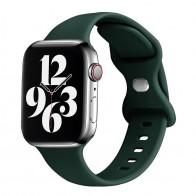 Mobiq - Siliconen Apple Watch Bandje 38/40 mm Donkergroen 01