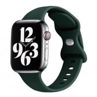 Mobiq Siliconen Apple Watch Bandje 42-44mm Donkergroen 01