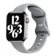 Mobiq - Siliconen Apple Watch Bandje 38/40 mm Lichtgrijs 01