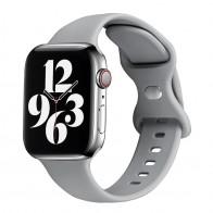 Mobiq Siliconen Apple Watch Bandje 42-44mm Lichtgrijs 01