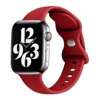 Mobiq - Siliconen Apple Watch Bandje 38/40 mm Rood 01