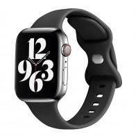 Mobiq - Siliconen Apple Watch Bandje 38/40 mm Zwart 01