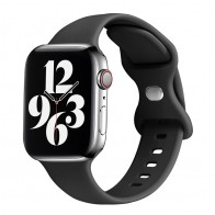 Mobiq - Siliconen Apple Watch Bandje 42-44mm Zwart 01