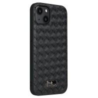 Mobiq Leather Texture Hoesje iPhone 13 Pro Max Zwart Woven 01