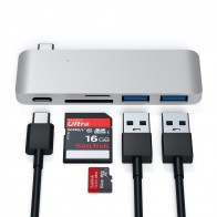 Satechi USB-C Pass Through Charging Hub Zilver - 1