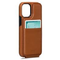 Sena Wallet Skin iPhone 13 Mini Hoesje met Pashouder Bruin 01