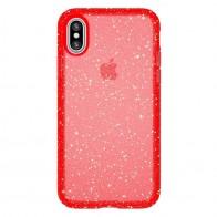 Speck Presidio Clear Glitter iPhone X/XS Hoesje Rood - 1
