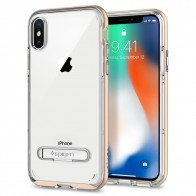 Spigen Crystal Hybrid iPhone X Hoesje Goud/Transparant - 1