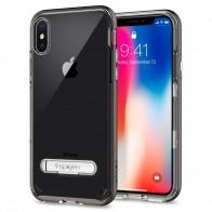 Spigen Crystal Hybrid iPhone X Hoesje Gunmetal/Transparant - 1