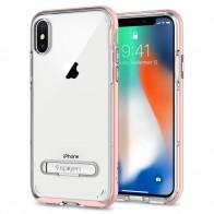 Spigen Crystal Hybrid iPhone X Hoesje Roze/Transparant - 1