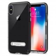 Spigen Crystal Hybrid iPhone X Hoesje Zwart/Transparant - 1