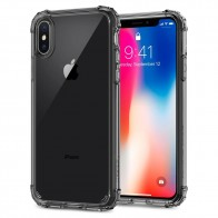 Spigen Crystal Shell iPhone X Hoesje Transparant/Grijs - 1