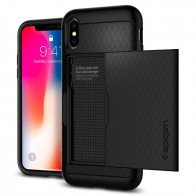 Spigen Crystal Wallet Case iPhone X/Xs Zwart - 1
