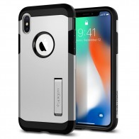 Spigen Tough Armor Case iPhone X Hoesje Zilver - 1