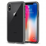 Spigen Ultra Hybrid iPhone X Hoesje Grijs/Transparant - 1