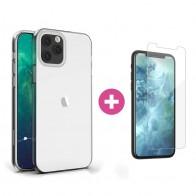 Mobiq - TPU Clear Case iPhone 12 Pro Max Transparant - 1 Scr Prot Kit