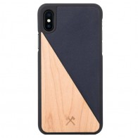 Woodcessories EcoSplit iPhone XS Max Hoesje Blauw/Esdoorn 01