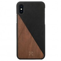 Woodcessories EcoSplit iPhone XS Max Hoesje Zwart/Walnoot 01