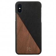 Woodcessories EcoSplit iPhone XR Hoesje Hout Walnoot Zwart 01