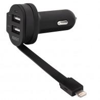 Xqisit - Dual Autolader met Lightning kabel black 01