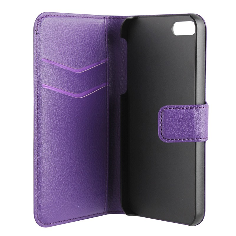 Xqisit - Slim Wallet Case iPhone SE / 5S / 5 Purple 06