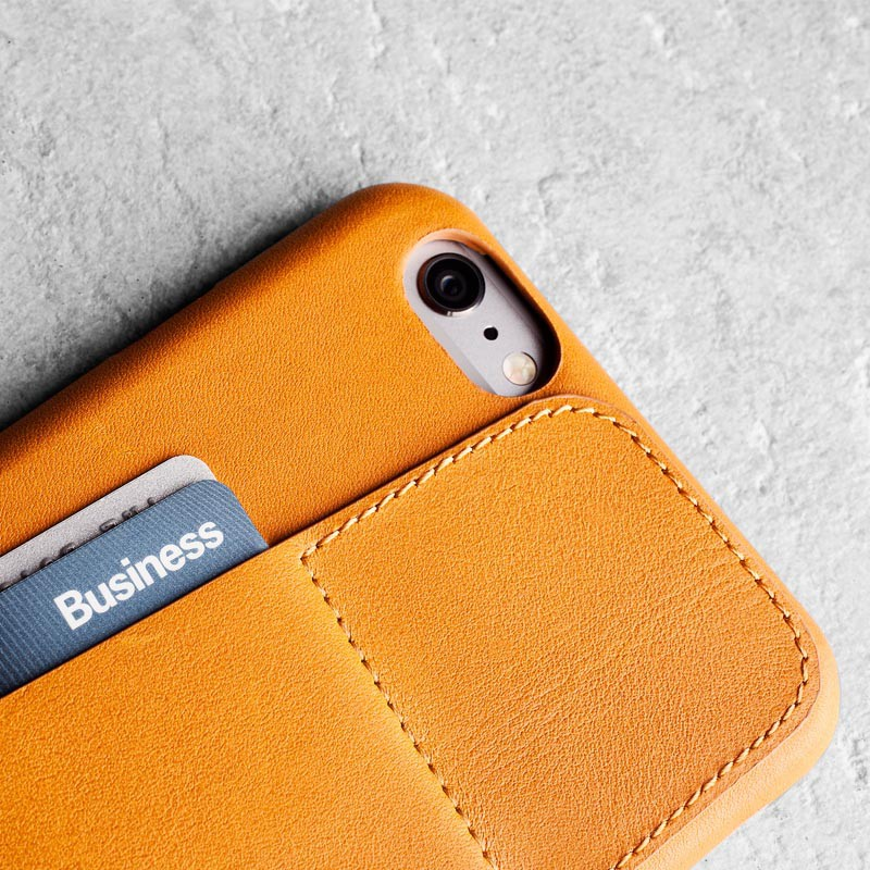 Mujjo Leather Wallet Case 80 iPhone 6 Tan - 2
