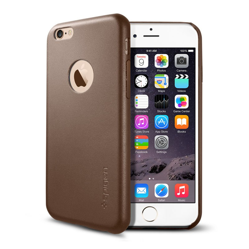 Spigen Leather Fit Case iPhone 6 Brown - 1