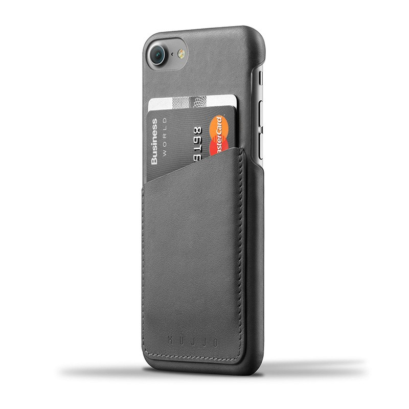 Mujjo Leather Wallet Case iPhone 7 Grey 01