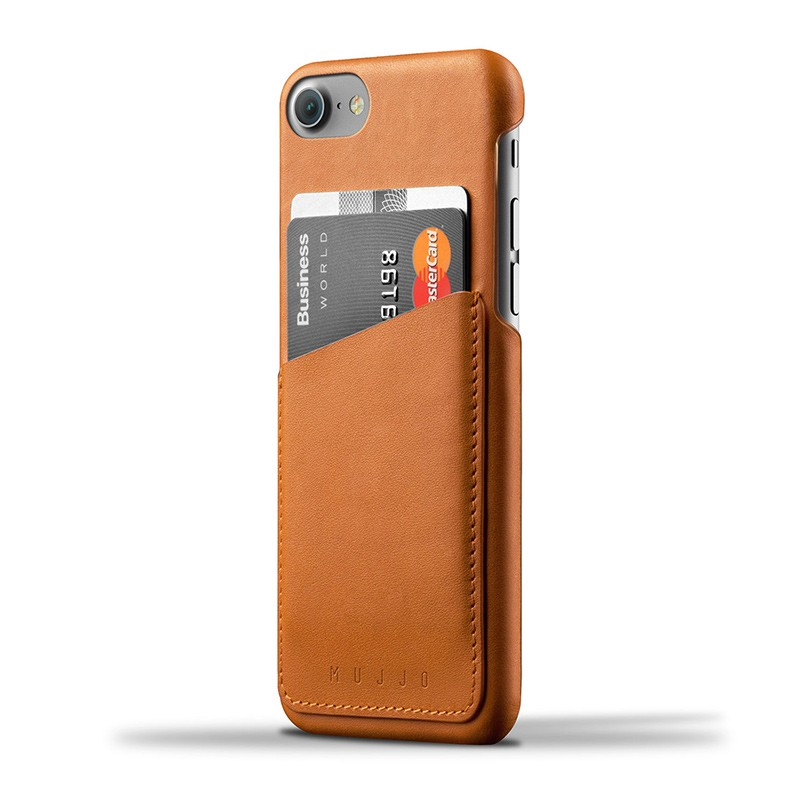 Mujjo Leather Wallet Case iPhone 7 Tan 01