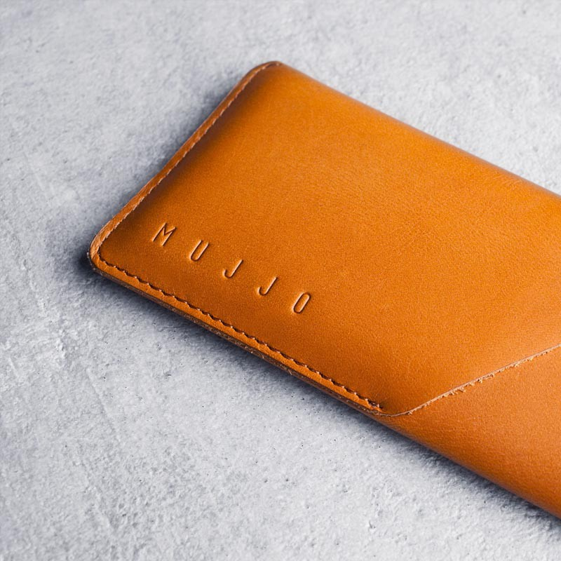 Mujjo Leather Wallet Sleeve iPhone 6 Tan Brown - 4